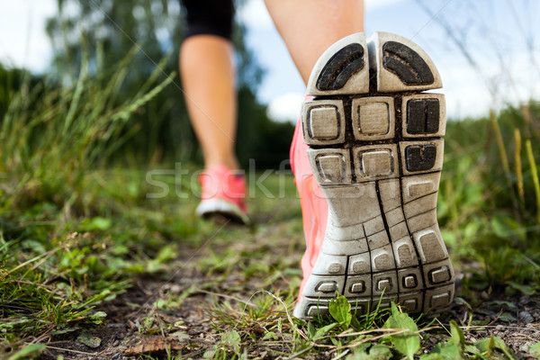 Walking or running legs in forest, adventure and exercising Stock photo © blasbike