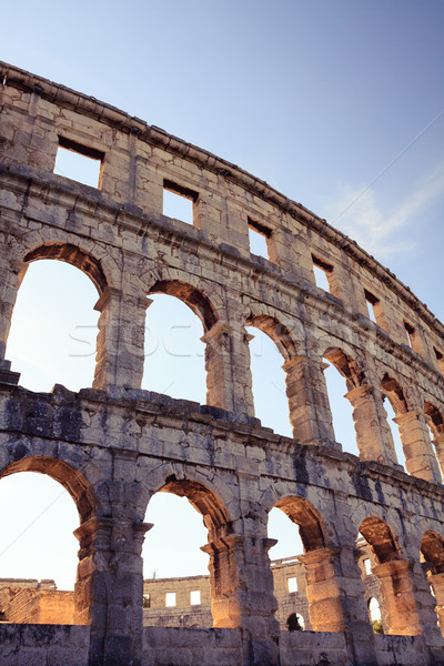 Roman amphitheater arena, ancient coliseum architecture in Pula Stock photo © blasbike