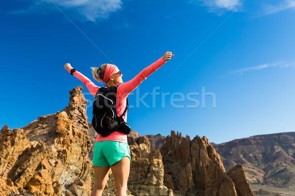 Zdjęcia stock: Kobieta · turysta · broni · cieszyć · się · góry · piękna