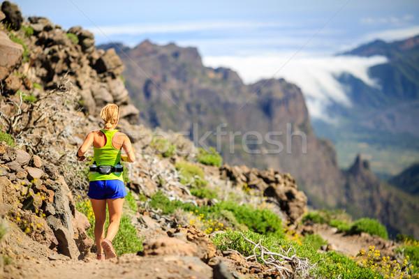 Stock fotó: Fiatal · nő · fut · kirándulás · hegyek · erő · napos