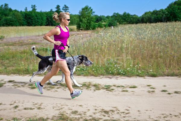 Photo stock: Marche · chien · courir · femme · coureur