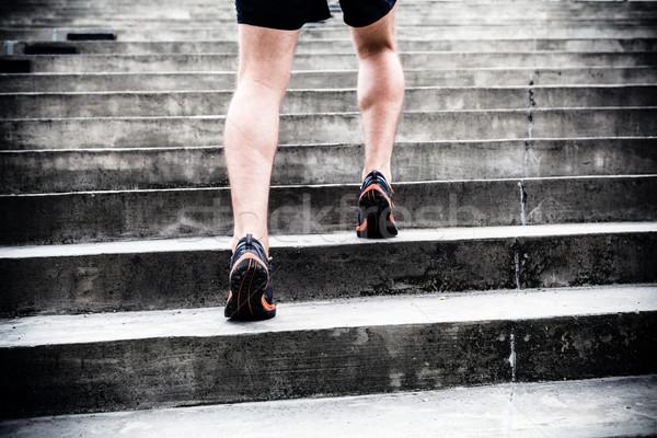 Stockfoto: Jogger · lopen · trap · sport · opleiding · man
