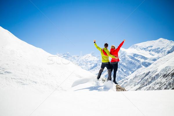 Couple hiking success in mountains Stock photo © blasbike