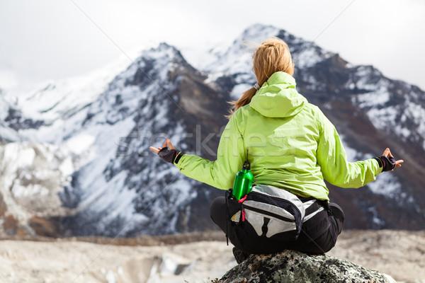 женщину турист пород Гималаи гор Сток-фото © blasbike