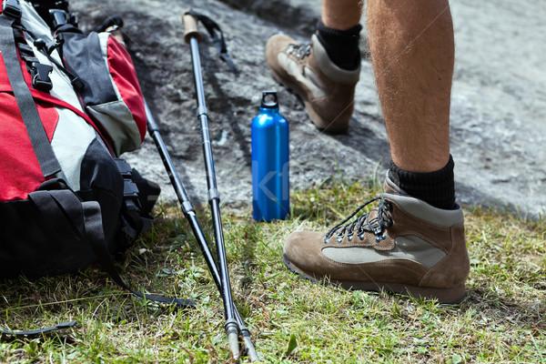 Hiker and hiking equipment Stock photo © blasbike