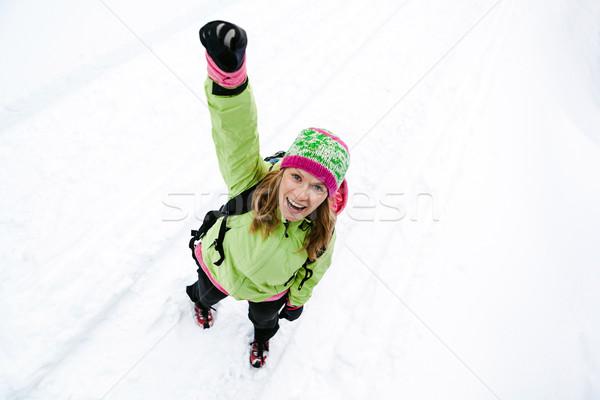Kirándulás tél hegyek nő hó sport Stock fotó © blasbike