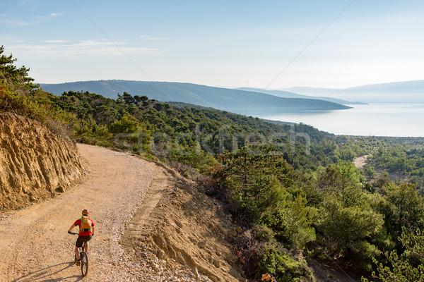 Mountain biker riding on bike at the sea Stock photo © blasbike