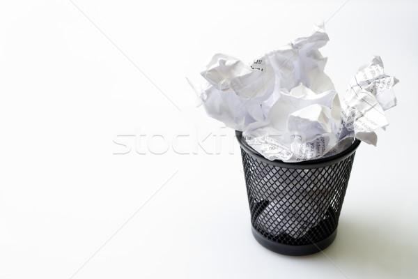 Metal basket with papers garbage Stock photo © blasbike