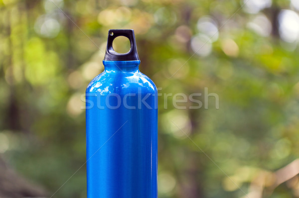 Foto stock: Garrafa · de · água · verde · floresta · metal · natureza · azul