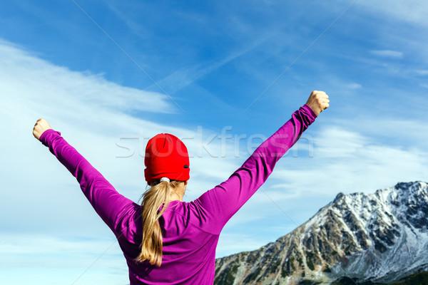 Hiking success, woman in winter mountains Stock photo © blasbike