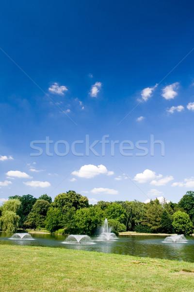 Cidade parque verão lagoa blue sky água Foto stock © blasbike