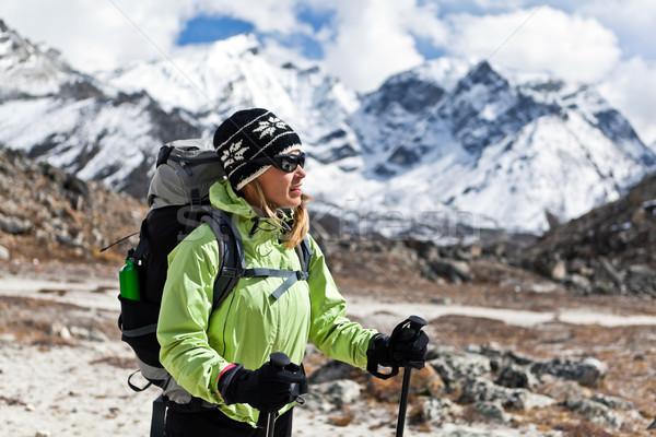 женщину походов Гималаи гор турист Сток-фото © blasbike