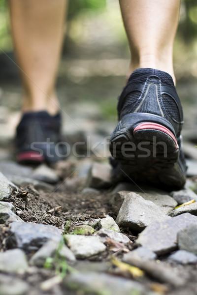 Foto stock: Trilha · caminhada · esportes · sapatos · natureza · atravessar