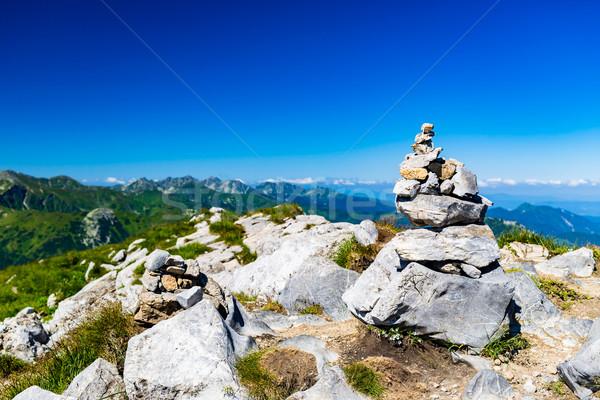 Bergen landschap stenen evenwicht Stockfoto © blasbike