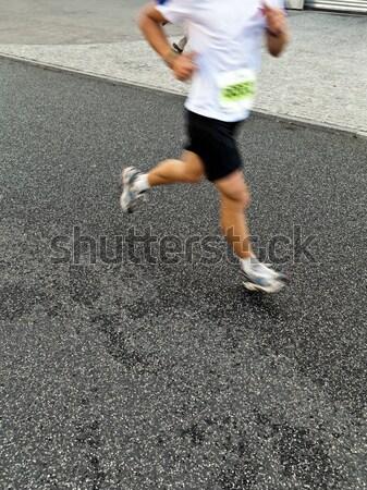 Stockfoto: Man · lopen · stad · marathon · straat
