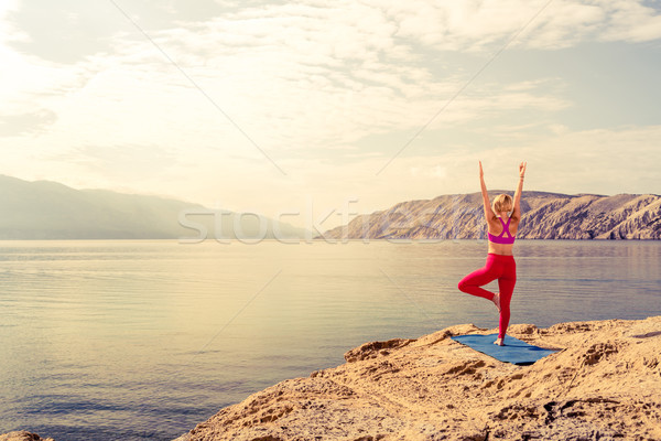 Stock photo: Woman in yoga tree pose meditating at the sea and mountains