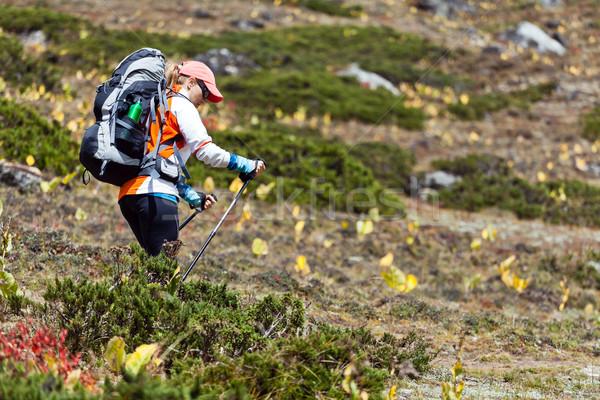 女性 バックパッカー ハイキング 山 若い女性 ハイカー ストックフォト © blasbike