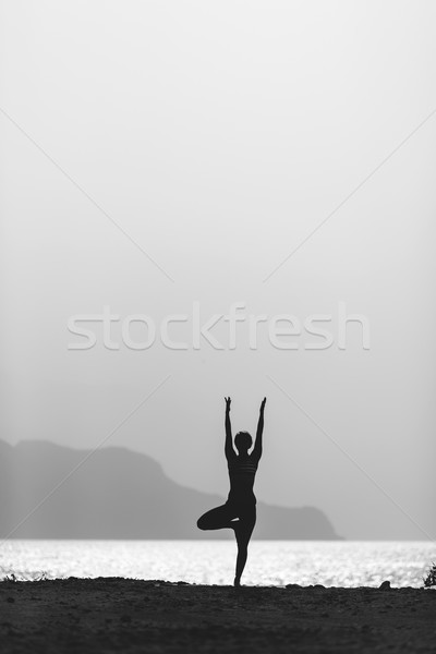 Stock photo: Woman yoga meditation in vrksasana pose silhouette