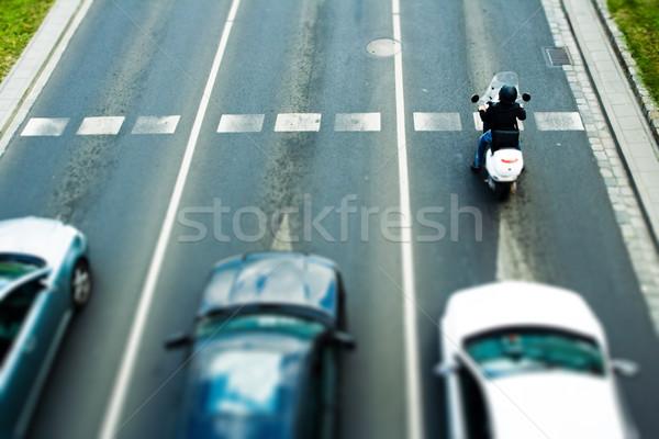 Korku kobieta ulicy miasta samochodu drogowego Zdjęcia stock © blasbike