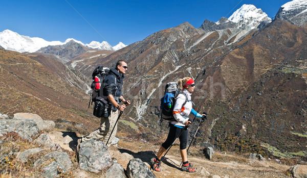Pessoas caminhadas montanhas himalaia Nepal Foto stock © blasbike