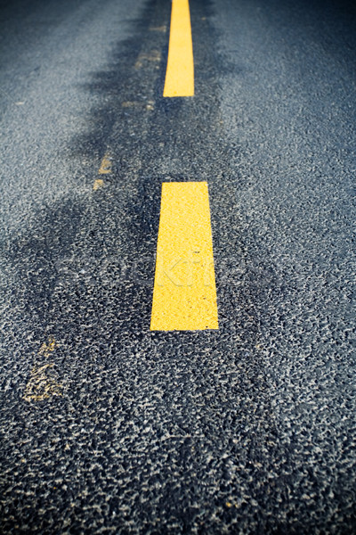 Stock photo: Road marking change