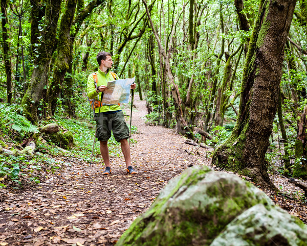 Hiker with map in forest Stock photo © blasbike