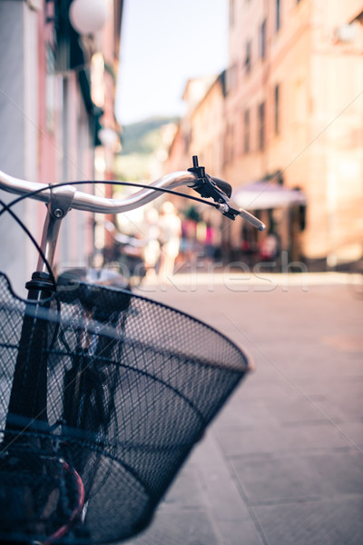 Stock photo: City bicycle handlebar, bike over blurred beautiful bokeh backgr
