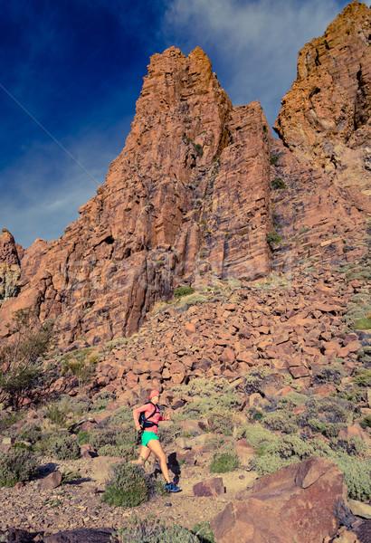 Stok fotoğraf: Kadın · çalışma · ilham · verici · dağlar · manzara · çapraz