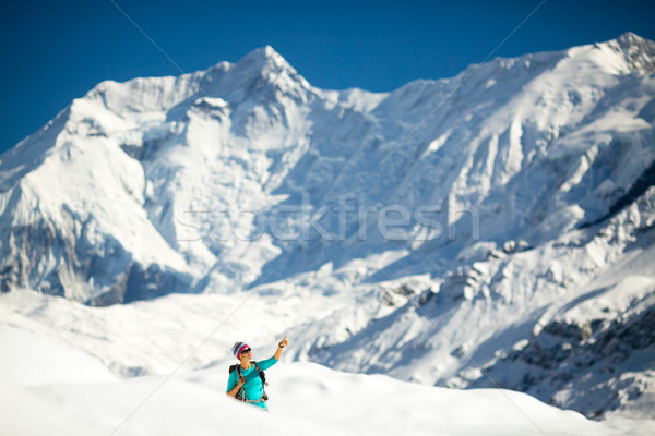 Woman success portrait on mountain peak Stock photo © blasbike