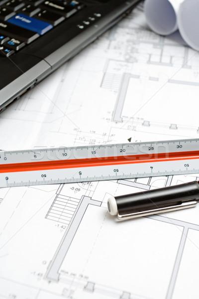 Photo stock: Maison · blueprints · portable · peu · profond · domaine