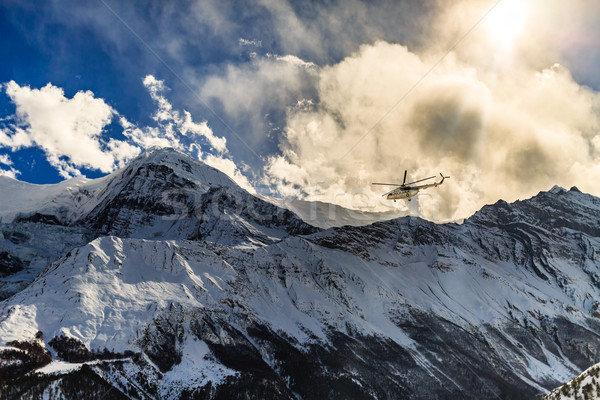 Mountain rescue helicopter in Himalaya Mountrains Stock photo © blasbike
