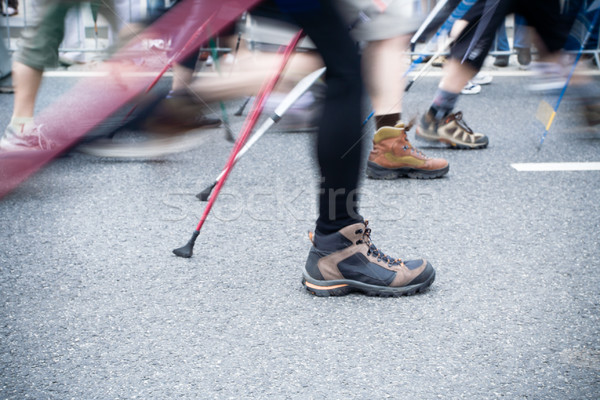 People on nordic walking race in city Stock photo © blasbike
