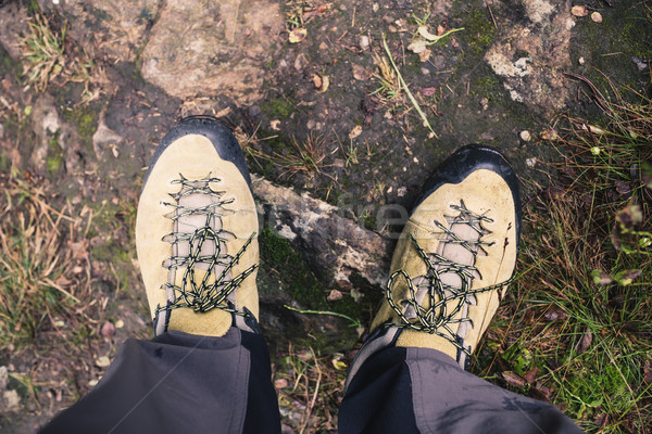 Hiker shoes on dirt autumn footpath in forest on hiking trip Stock photo © blasbike