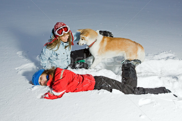 Winter fun with akita dog on snow Stock photo © blasbike