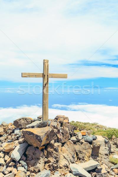 Hristiyan çapraz dağ üst güzel ilham verici Stok fotoğraf © blasbike
