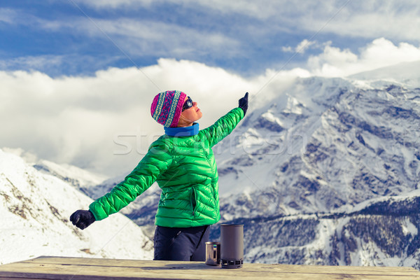 Woman resting in base camp in winter mountains Stock photo © blasbike