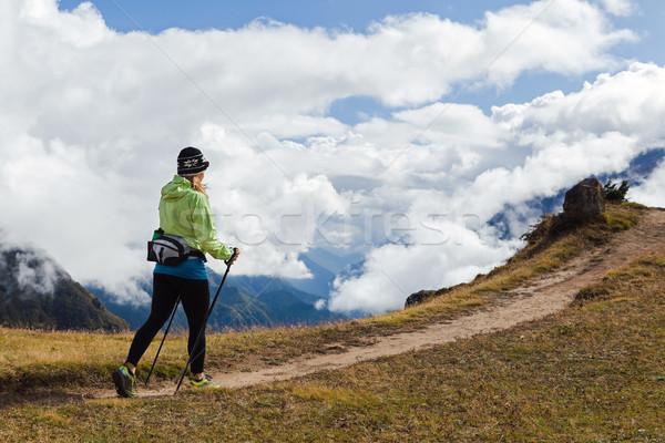Woman hiker walking in Himalaya Mountains, Nepal Stock photo © blasbike