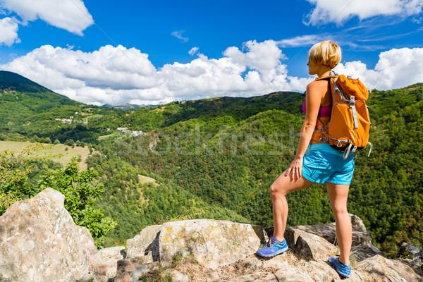 Yürüyüş kadın bakıyor ilham verici dağlar manzara Stok fotoğraf © blasbike