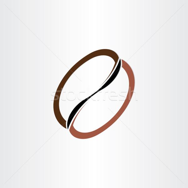 Kávébab stilizált ikon terv ital kávézó Stock fotó © blaskorizov