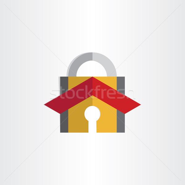 Kłódki domu dachu bezpieczeństwa blokady symbol Zdjęcia stock © blaskorizov