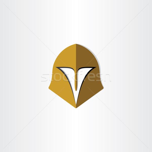 Gladyatör kask kapak ikon dizayn sanat Stok fotoğraf © blaskorizov