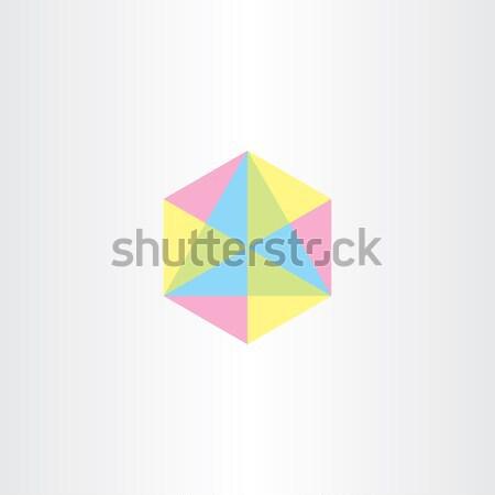 Absztrakt Pentagon logo ikon alkotóelem szimbólum Stock fotó © blaskorizov