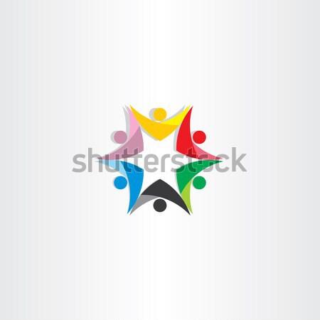 カラフル 人 チームワーク 星 アイコン デザイン ストックフォト © blaskorizov