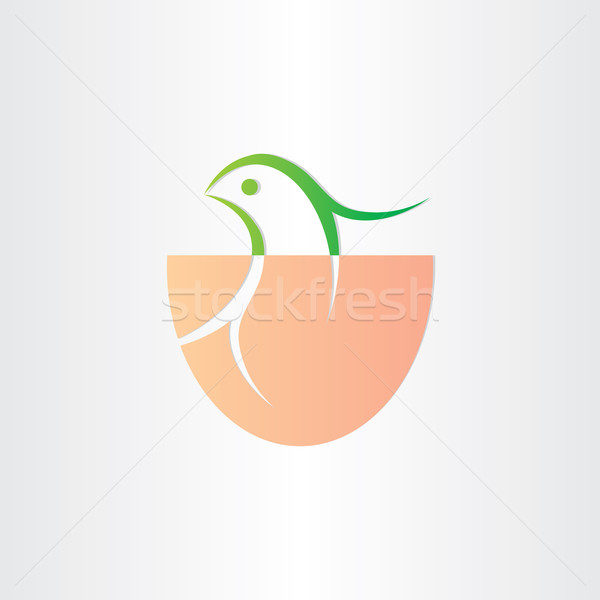 little bird birth in egg icon Stock photo © blaskorizov