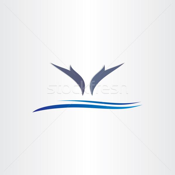 дельфины Перейти воды икона дизайна стилизованный Сток-фото © blaskorizov