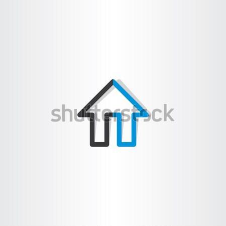 Fekete kék ház vonal ikon terv Stock fotó © blaskorizov