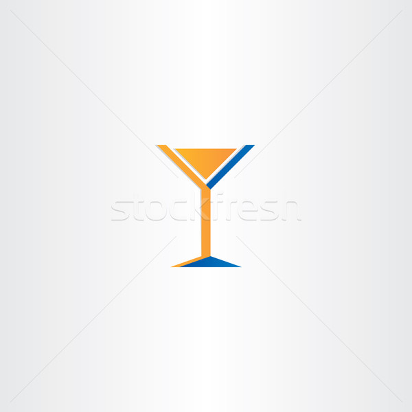 Cocktail icon oranje Blauw glas vector Stockfoto © blaskorizov