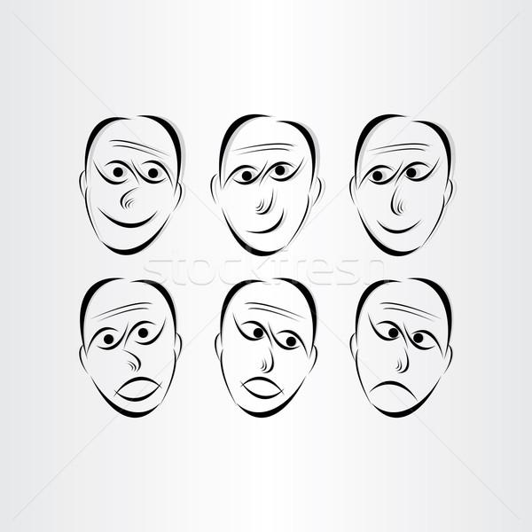 Férfiak arcok érzelmek szimbólumok absztrakt terv Stock fotó © blaskorizov