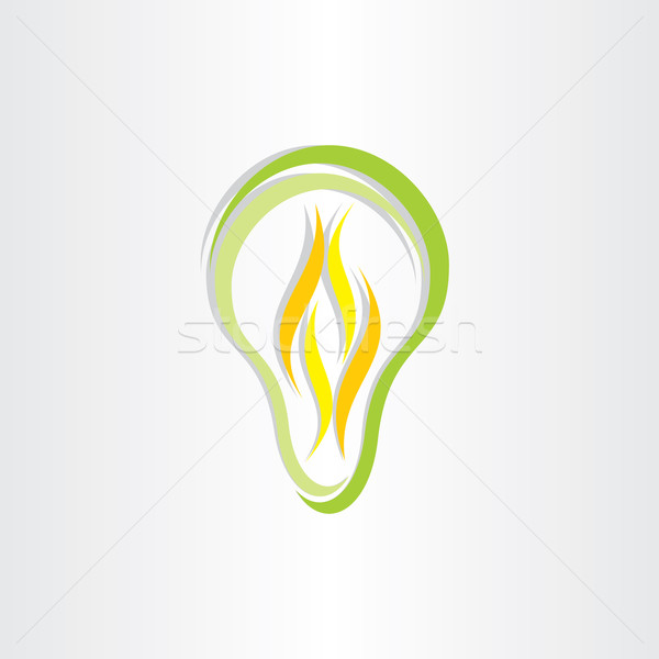 green eco low energy bulb icon Stock photo © blaskorizov