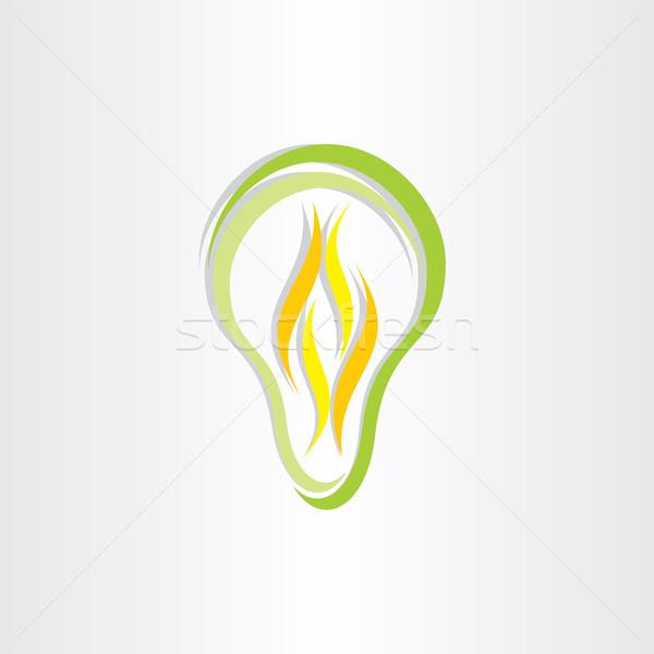 Verde eco bajo energía bombilla icono Foto stock © blaskorizov